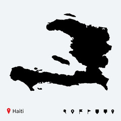 High detailed vector map of Haiti with navigation pins.