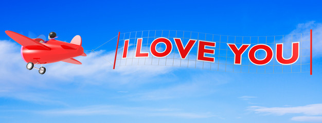 Cartoon Airplanes with I Love You Banner
