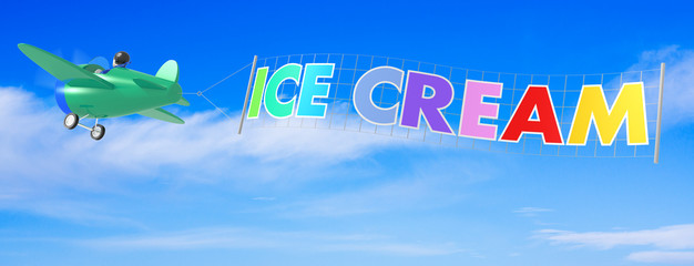 Cartoon Airplanes with Ice Cream Banner