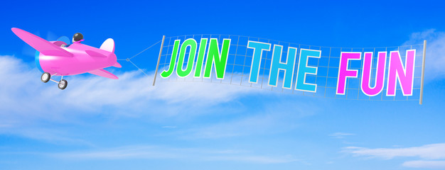 Cartoon Airplanes with Join The Fun Banner