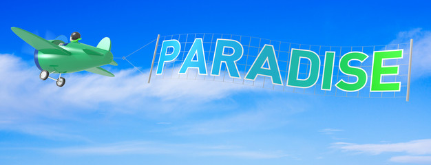 Cartoon Airplanes with Paradise Banner