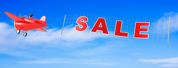 Cartoon Airplanes with Sale Banner