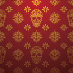 Gold Skull Ornamental Pattern