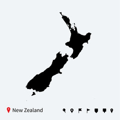 High detailed vector map of New Zealand with navigation pins.