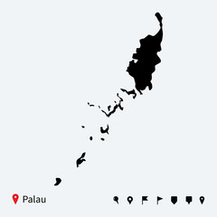 High detailed vector map of Palau with navigation pins.