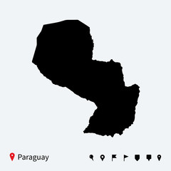 High detailed vector map of Paraguay with navigation pins.
