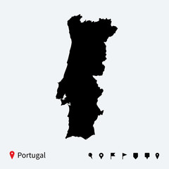 High detailed vector map of Portugal with navigation pins.