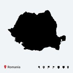 High detailed vector map of Romania with navigation pins.