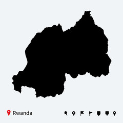 High detailed vector map of Rwanda with navigation pins.