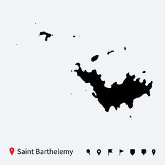 High detailed vector map of Saint Barthelemy with pins.