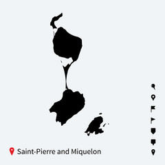 High detailed vector map of Saint-Pierre and Miquelon with pins.