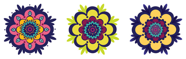 Three abstract ornamental flowers, oriental style
