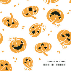 Smiling Halloween pumpkins frame corner pattern background