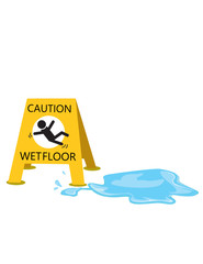 caution  slippery with drop water