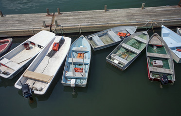 Colorful boats at a dock