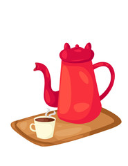 coffee or tea pot and a cup