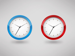 Blue & Red clock vector