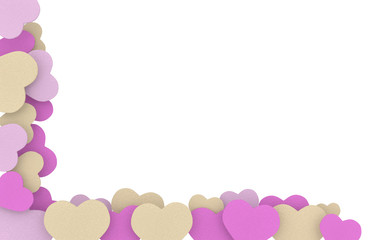 beige pink and purple soap hearts frame