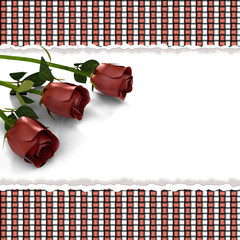 greeting card with rose blossoms in retro style