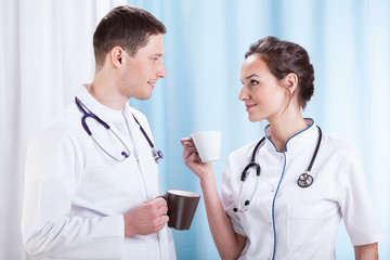 Doctors having coffee break