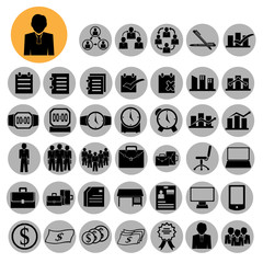 Business icons, management and human resources. vector eps 10.