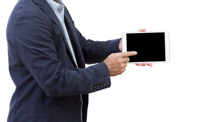 Business man hand touching blank screen tablet computer isolated