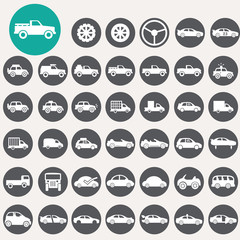 Car icons set. Illustration eps10