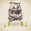 Vintage sketch tourism background