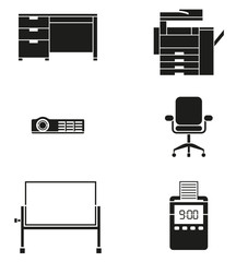Office Furniture and Machine Icon Set
