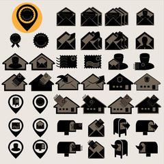 Post service icons set, Illustration eps10