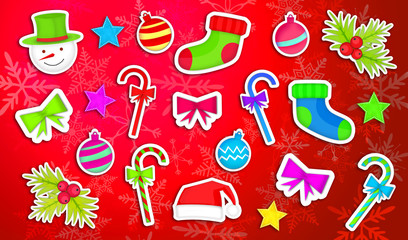 Christmas Ornament Pack Set Red Background