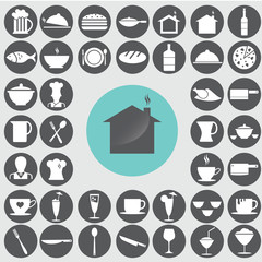 Restaurant icons set. Illustration eps10