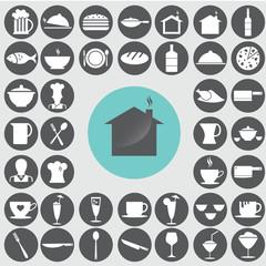 Restaurant icons set. Illustration eps10