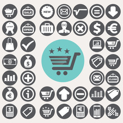 Shopping and eCommerce icons set. Illustration eps10