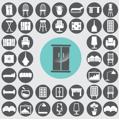 Furniture icons set. Illustration eps10