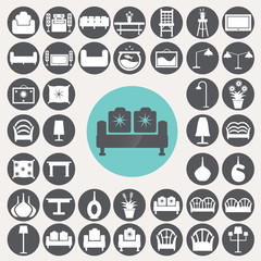 Living room icons set. Illustration eps10