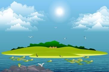 wyspa na jeziorze,