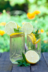 Lemonade in two glasses