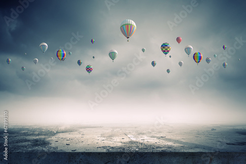 canvas print picture Flying balloons