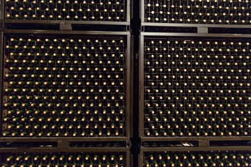 bottles in winery cellar