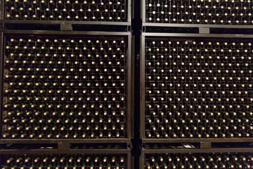 bottles in winery cellar