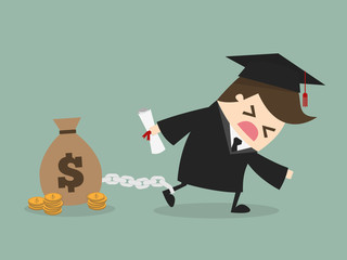 man want to graduate as make debt.