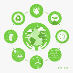 Ecology, flat design concept icons, vector illustration
