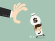 hand grabbing money bag from another Businessman
