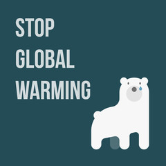 illustration of polar bear showing global warming, Stop Global W