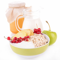 muesli,milk and fruit
