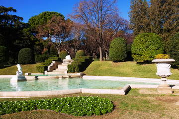 Fountain in Park of Pedralbes Royal Palace. Barcelona