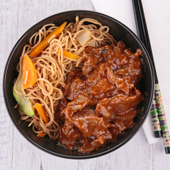 bowl of chinese noodles with beef