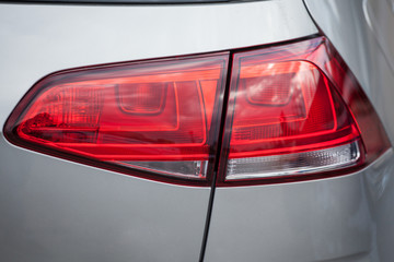 Closeup of a taillight on a modern car