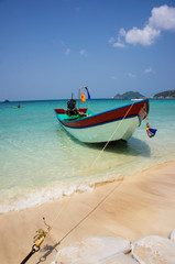 beach with boat on Ko Tao island,thailand